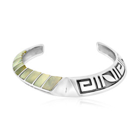 Sterling Silver Mother of Pearl and Greek Key Bangle 82010518