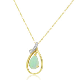 14K Yellow Gold Pear Shape Opal With Diamond Pendant 52001823