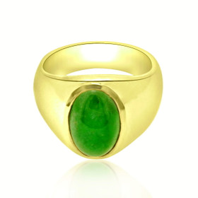 14K Yellow Gold Oval Jade Ring 12002512