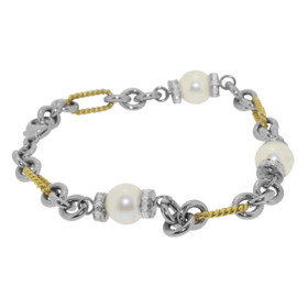 14k Two Toned Gold Diamond and Pearl Bracelet 21000213
