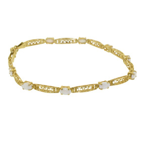 10K Yellow Gold Opal Greek Key Style Bracelet 29000033