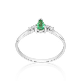 14K White Gold Diamond Emerald Ring 12000887