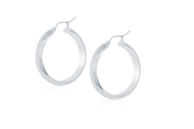 14K White Gold Hoop Earrings 40002278-E