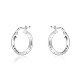 14K White Gold Fancy Oval Hoop Earrings 40002272