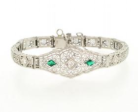 14K White Gold Diamond Emerald Bracelet 21000504