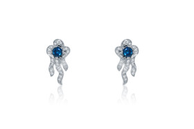 14K White Gold Blue and White Diamond Flower Earrings