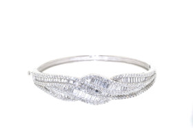 Silver Cubic Zirconia Marquise Shaped Bangle 82210070