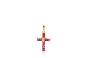 14K Yellow Gold Diamond Ruby Cross Charm