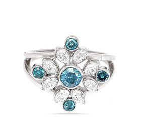 14K White Gold White And Color Enhanced Blue Diamond Ring 11000341