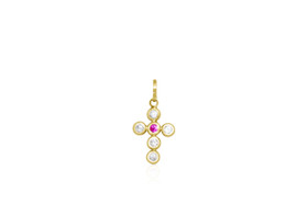 14K Yellow Gold White and Red Cubic Zirconia Cross Charm 52001858