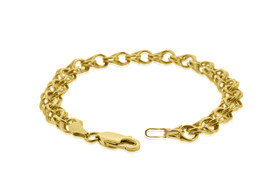 14K Yellow Gold Charm Link Bracelet 20001037