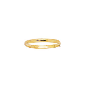 14K 5.5mm Yellow Gold Shiny Diamond Cut Florentine Bangle with Clasp 3/16B-0550