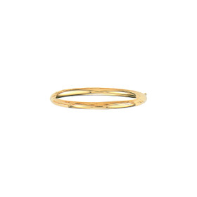 14K 8-inch Yellow Gold 5.0mm Plain Shiny Round Dome Classic Bangle with Clasp 3/16S-08