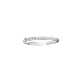 14K 5.5mm White Gold Shiny Diamond Cut Bangle with Clasp+Diamond Pattern 3/16WCX-0550
