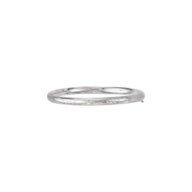 14K 7-inch White Gold 5.0mm Florentine Round Dome Classic Bangle with Clasp 3/16WFL-07
