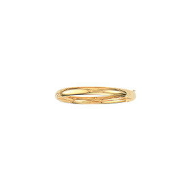 14K 8-inch Yellow Gold 6.0mm Plain Shiny Round Dome Classic Bangle with Clasp 4/16S-08
