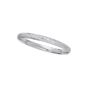 14K 7-inch White Gold 6.0mm Shiny Textured Sparkle Bangle with Diamond Shape Patter n with Clasp 4/16WCX-07