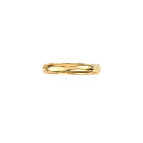 14K 8-inch Yellow Gold 10.0mm Plain Shiny Round Dome Classic Bangle with Clasp 7/16S-08