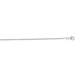 10K 16-inch White Gold 1.50mm Shiny Solid Diamond Cut Royal Rope Chain with Lobster Clasp