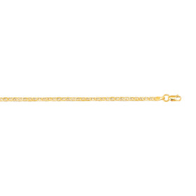 10K 10-inch White Gold 1.75mm Diamond Cut Mariner Link Anklet with Lobster Clasp 050M-10