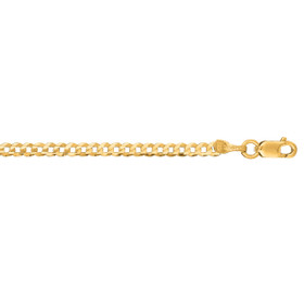 10K 20-inch Yellow Gold 2.8mm Diamond Cut Comfort Curb Chain with Lobster Clasp
