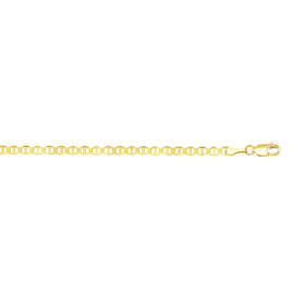 10K 10-inch Yellow Gold 3.2mm Shiny Mariner Chain Link Anklet with Lobster Clasp 080M-10