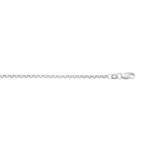 10K 16-inch White Gold 2.30mm Diamond Cut Rolo Chain with Lobster Clasp 100WR-16