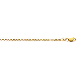 10K 16-inch Yellow Gold 2.30mm Diamond Cut Rolo Chain with Lobster Clasp 100R-16