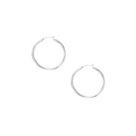 10K White Gold 2.0x30mm Shiny Round Hoop Earring 209WLT