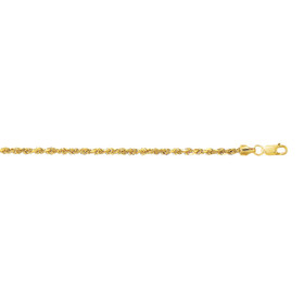 10K 22-inch Yellow Gold 2.5mm Diamond Cut Hollow Sparkle Rope Chain with Lobster Clasp 118HSR-22