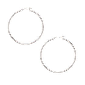 10K White Gold 2.0X50mm Shiny Large Round Hoop Earring 255RW