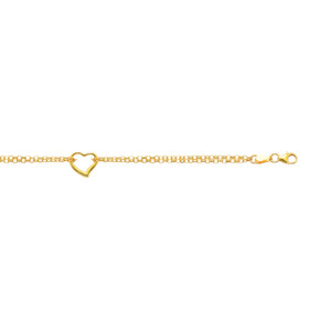 "10K 10-inch Yellow Gold 10"" Shiny Double Rolo Chain Anklet+1 Station Open Heart with Lobster Clasp 123ANK-10"