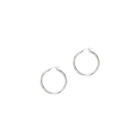 10K White Gold 2.0x25mm Shiny Round Hoop Earring 375ER