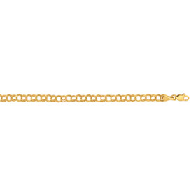 10K 7-inch Yellow Gold Shiny Round Chain Link Ladies Fancy Bracelet with Lobster Cla sp 2500CB-07