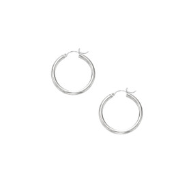 10K WG Shiny 3X25MM HOOP EARRING 3000ER