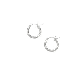 10K W G Shiny 3X15MM HOOP EARRING 3001ER