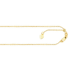 14kt 22-inch Yellow Gold .90mm Diamond Cut Adjustable Cable Chain with Lobster Clasp ACAB1-22
