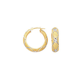 10K Yellow+White Gold 6.0mm Shiny Diamond Cut Textured Hoop Earring with Diamon d Pattern 436FT