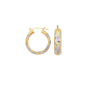 10K Yellow+White Gold 6.0mm Shiny Diamond Cut Textured Hoop Earring with Diamon d Pattern 437FT