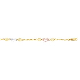 14K 10-inch Yellow+White+Rose Gold Shiny Fancy Tri-Color Anklet+Heart+Swirl with Lob ster Clasp ANK140-10