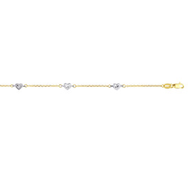 14K 10-inch Yellow+White Gold Shiny Diamond Cut Cable Chain+White Heart Fancy Anklet with Lobster Clasp ANK186-10