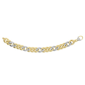 14kt 7.75-inch Yellow+White Gold 12.2mm Shiny Alternat e 3 Yellow+1 White Figaro Type Bracelet with Fleur De Lis Lobster Clasp AUF1066-0775