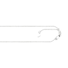 14kt 22-inch White Gold 0.9mm Diamond Cut Adjustable Cable Chain with Lobster Clasp AWCAB1-22