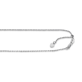 14kt 22-inch White Gold 1.0mm Diamond Cut Adjustable Royal Rope Chain with Lobster Clasp AWROY1-22