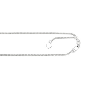 14kt 22-inch White Gold 1.3mm Diamond Cut Adjustable Popcorn Chain with Lobster Clas p+ Small HEarRingt AWRPC030-22