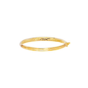 14K 5.5mm Yellow Gold Shiny Diamond Cut Florentine Bangle with Clasp BAN4B-0550
