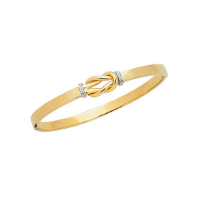 14K 7-inch Yellow+White Gold 4.75mm Shiny Loop Top Fancy Bangle with Clasp BG125-07