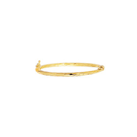 14K Yellow Gold 5.50-inch Shiny Round Tube Twisted Bangle with Clasp BG205-0550