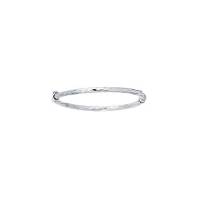 14K White Gold 5.50-inch Shiny Round Tube Twisted Bangle with Clasp BG207-0550