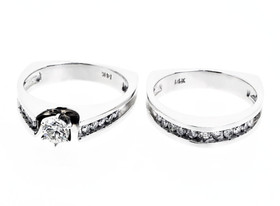 14K White Gold Diamond Ring Set 11000543